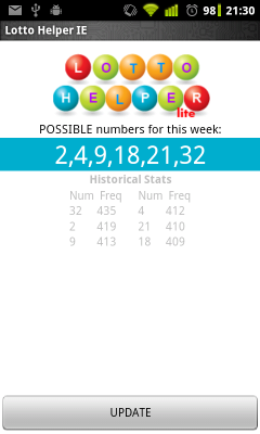 Lotto Helper IE available for free from the Android Market